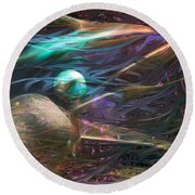 Round Beach Towel featuring the digital art Planetary Chaos by Linda Sannuti
