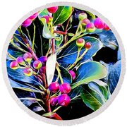 Plant 14 In Abstract Round Beach Towel