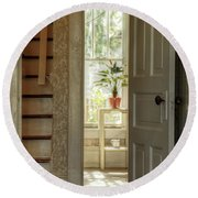 Plant In Window Round Beach Towel