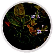 Plants In Abstract 19 Round Beach Towel