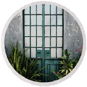 Round Beach Towel featuring the photograph Plants In The Doorway by Marco Oliveira