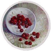 Plate With Cherries Round Beach Towel