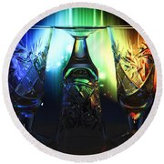Play Of Glass And Colors Round Beach Towel