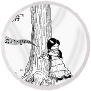 Play The Flute Under The Tree Round Beach Towel