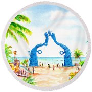 Round Beach Towel featuring the painting Playa Del Carmen Portal Maya Statue by Carlin Blahnik CarlinArtWatercolor