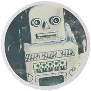 Playback The Antique Robot Round Beach Towel
