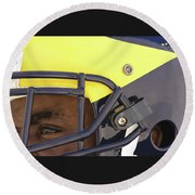Player In Winged Helmet Round Beach Towel