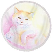 Round Beach Towel featuring the painting Playful Cat I by Elizabeth Lock