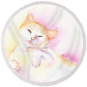 Round Beach Towel featuring the painting Playful Cat II by Elizabeth Lock