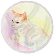Round Beach Towel featuring the painting Playful Cat IIi by Elizabeth Lock