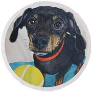 Playful Dachshund Round Beach Towel by Megan Cohen