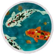 Round Beach Towel featuring the painting Playful Koi Fishes Original Acrylic Painting by Georgeta Blanaru