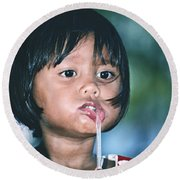 Round Beach Towel featuring the photograph Playful Little Girl In Thailand by Heiko Koehrer-Wagner
