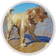 Playful Puppy Round Beach Towel