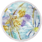 Round Beach Towel featuring the painting Playfulness by Jasna Dragun