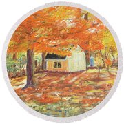 Playhouse In Autumn Round Beach Towel by Carol L Miller