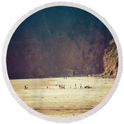 Playing Along Oceanside Oregon Round Beach Towel