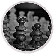 Playing Chess 2 Round Beach Towel by Cendrine Marrouat