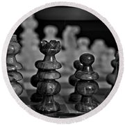 Round Beach Towel featuring the photograph Playing Chess 2 by Cendrine Marrouat