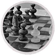 Round Beach Towel featuring the photograph Playing Chess by Cendrine Marrouat