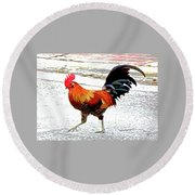 Round Beach Towel featuring the mixed media Playing Chicken by Charles Shoup