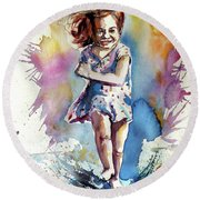 Round Beach Towel featuring the painting Playing Girl by Kovacs Anna Brigitta