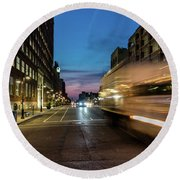 Round Beach Towel featuring the photograph Playing In Traffic by Randy Scherkenbach