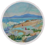 Playing On Schoodic Rocks Round Beach Towel