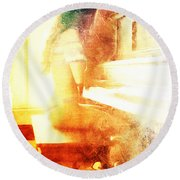 Playing Piano At The Window Round Beach Towel