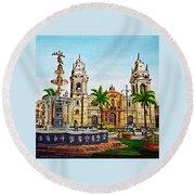Plaza Armas, Cusco, Peru Round Beach Towel