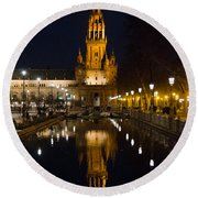 Plaza De Espana At Night - Seville 6 Round Beach Towel