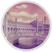 Round Beach Towel featuring the photograph Plaza De Espana. Dreamy by Jenny Rainbow