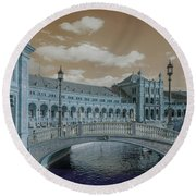 Round Beach Towel featuring the photograph Plaza De Espana Vintage by Jenny Rainbow