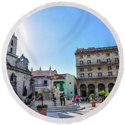 Plaza De San Francisco De Asis Round Beach Towel