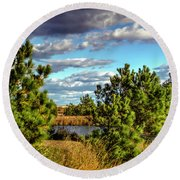 Pleasure House Point Natural Area  Round Beach Towel