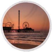 Pleasure Pier At Sunrise Round Beach Towel