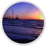 Pleasure Pier Sunrise Round Beach Towel