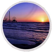 Pleasure Pier Sunrise Round Beach Towel