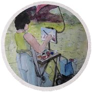 Plein-air Artist Sandra Round Beach Towel by Gretchen Allen