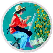 Plein Air Painter  Round Beach Towel