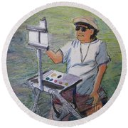 Plein-air Painter Bj Round Beach Towel by Gretchen Allen