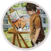 Plein-air Painter Boy Round Beach Towel by Gretchen Allen