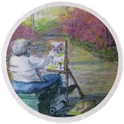 Plein-air Painter Lady Round Beach Towel by Gretchen Allen