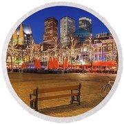 Plein Square At Night - The Hague Round Beach Towel