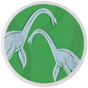 Plesiosaurus Round Beach Towel by Linda Woods