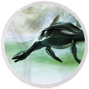 Plesiosaurus Round Beach Towel by William Francis Phillipps