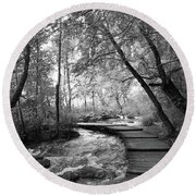 Plitvice In Black And White Round Beach Towel