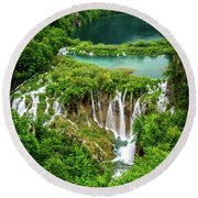 Plitvice Lakes National Park - A Heavenly Crystal Clear Waterfall Vista, Croatia Round Beach Towel
