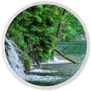 Plitvice Lakes National Park, Croatia - The Intersection Of Upper And Lower Lakes Round Beach Towel