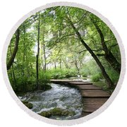 Plitvice Lakes National Park Round Beach Towel
